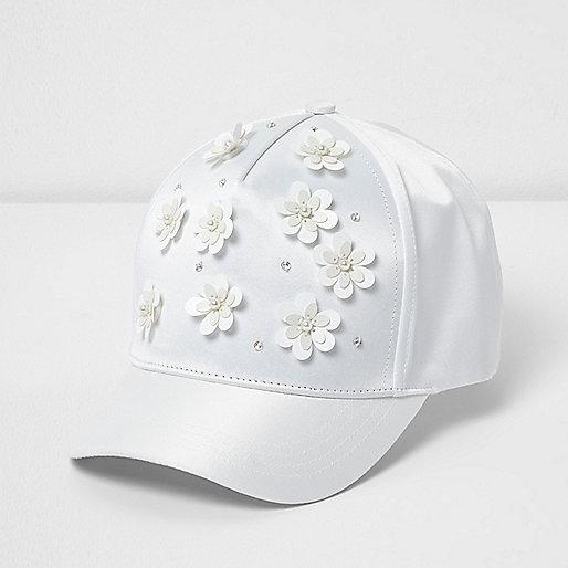 Girls white 3D flower satin cap