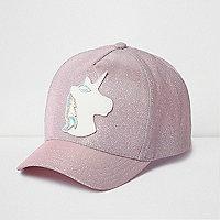 Casquette motif licorne rose à paillettes pour fille