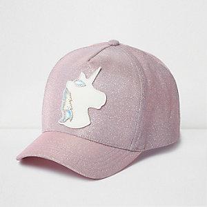 Girls pink glitter unicorn cap