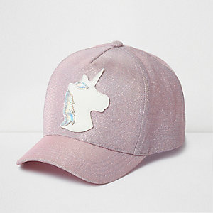 Girls pink glitter unicorn cap