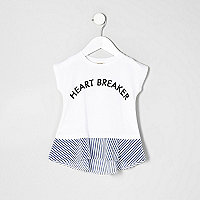 Mini girls white heartbreaker peplum T-shirt