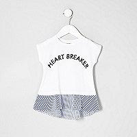 T-shirt péplum imprimé Heartbreaker blanc mini fille