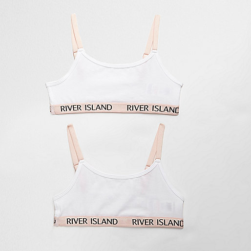 Girls white contrast cami crop top pack