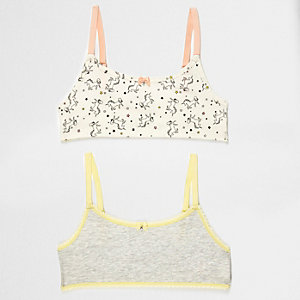 Graues Crop Top mit Einhornmotiv, Set