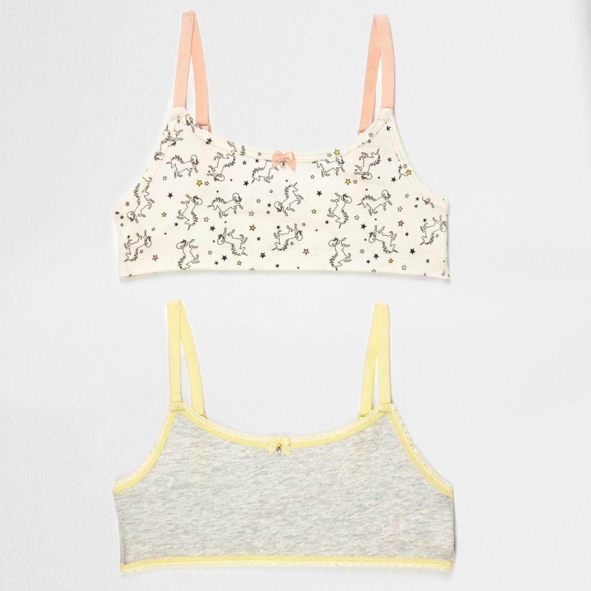 Girls grey unicorn print crop top pack