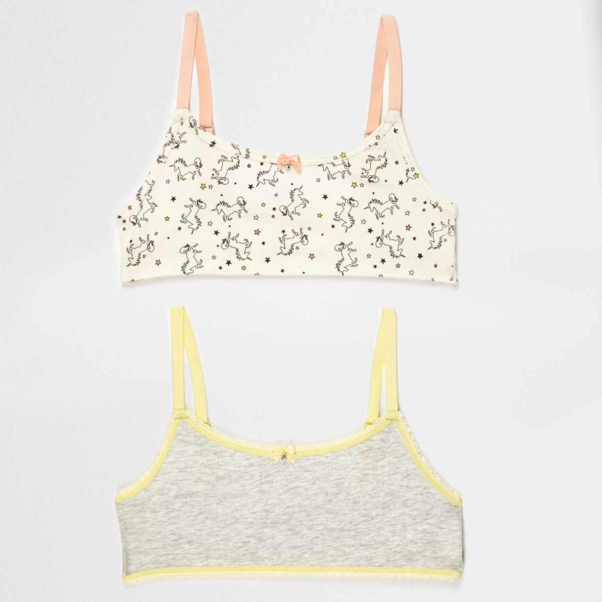 Girls grey unicorn print crop top pack