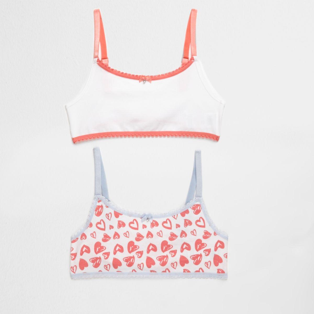 Girls pink heart print crop top pack
