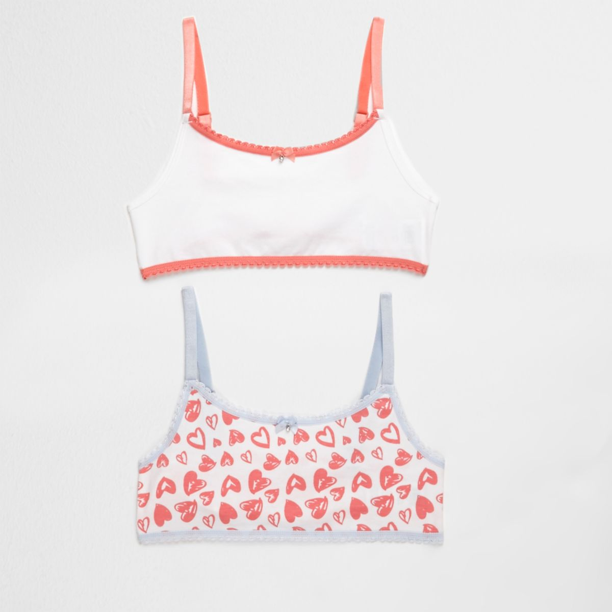 Girls pink heart print crop top pack
