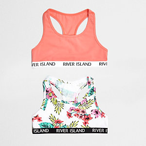 Girls pink tropical racer back crop top pack