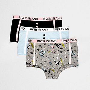 Girls blue printed boxer briefs multipack