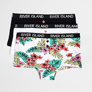 Girls black tropical print hipsters multipack