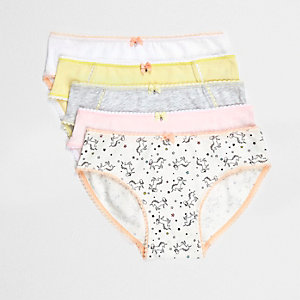 Girls yellow Unicorn print briefs multipack