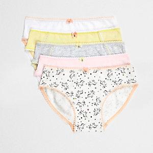 Lot de culottes dont une jaune et une à imprimé licorne pour fille