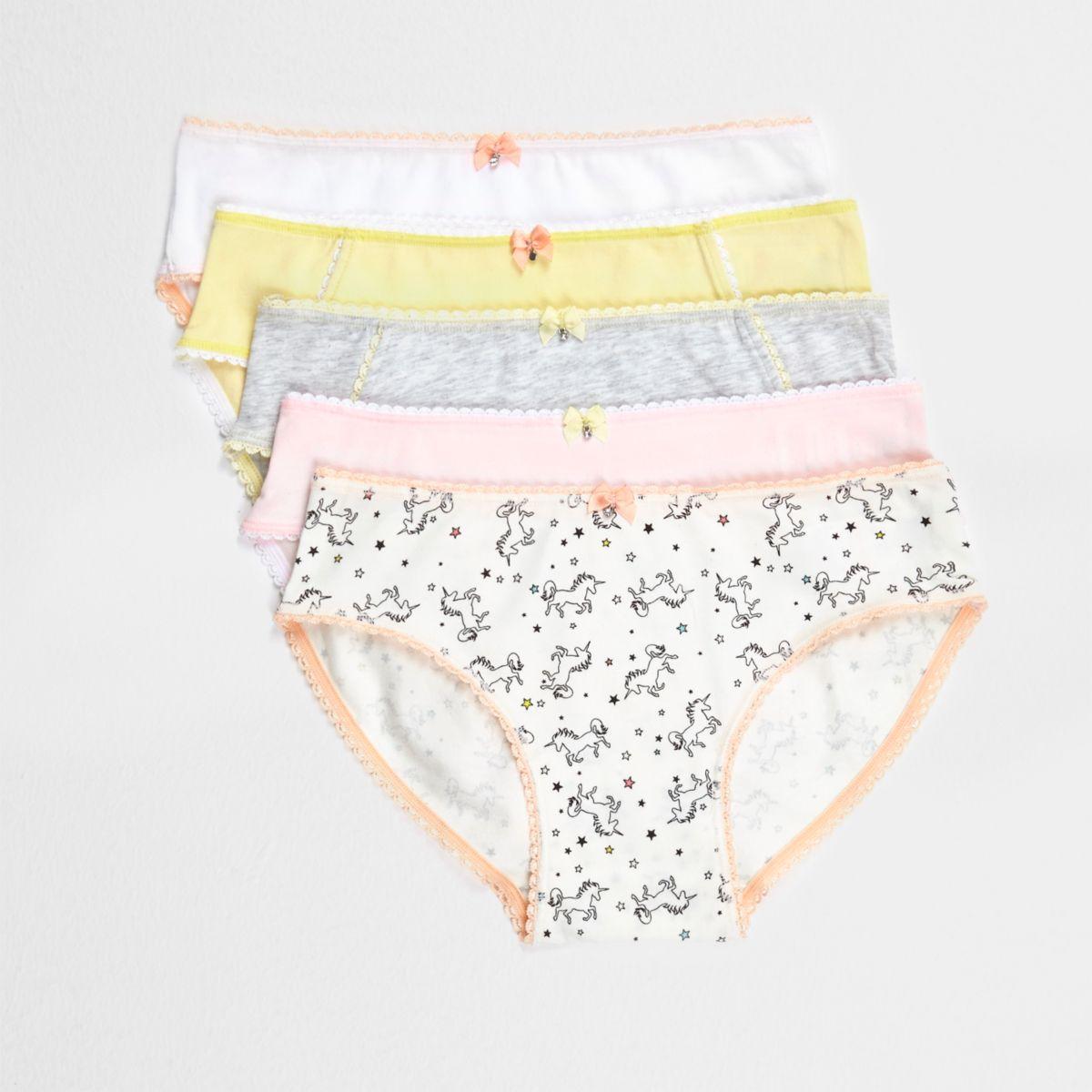 Girls yellow Unicorn print briefs multipack