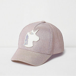 Mini girls pink iridescent unicorn cap