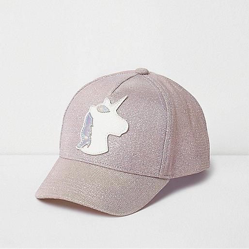 Mini girls pink iridescent unicorn cap