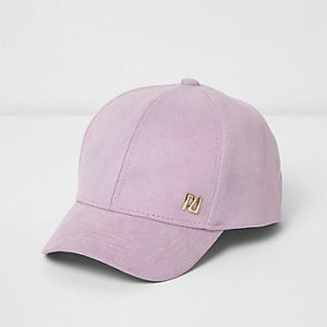 Mini girls purple faux suede cap