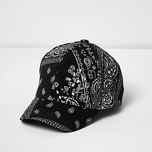 Mini girls black bandana print jewel cap