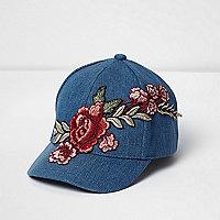 Mini girls denim floral embroidered cap
