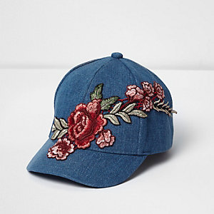 Mini girls denim floral embroidered cap