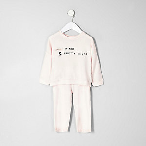 Mini girls pink angel wing print pajama set