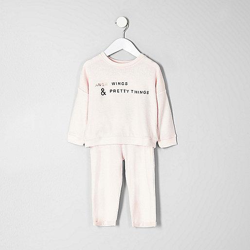 Mini girls pink angel wing print pyjama set