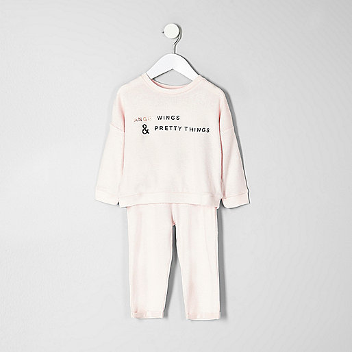 Mini girls pink angel wing print pajama set