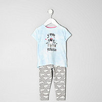 Mini girls blue 'pug dreams' pyjama set