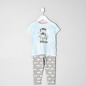 Mini - blauwe pyjamaset met 'pug dreams'-print voor meisjes