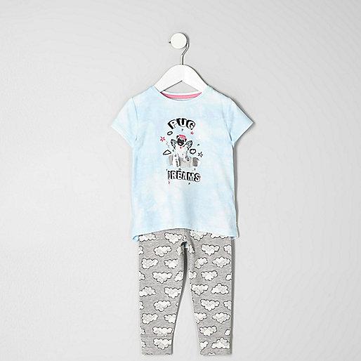 Mini girls blue 'pug dreams' pyjama set