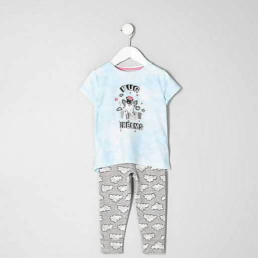 Mini girls blue 'pug dreams' pajama set
