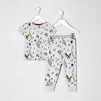 Mini girls grey doodle print pajama set