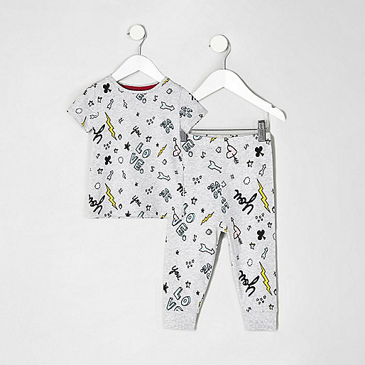 Mini girls grey doodle print pyjama set