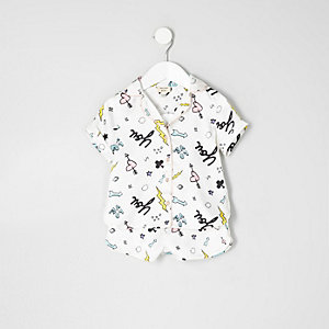 Mini girls doodle shirt and shorts pajama set