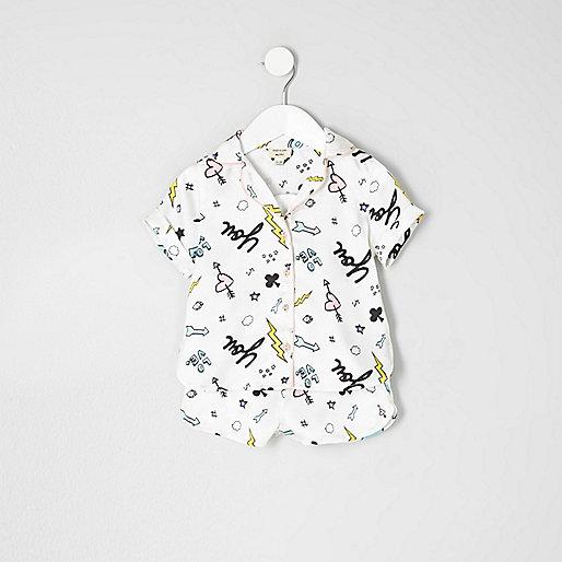 Mini girls doodle shirt and shorts pajama set