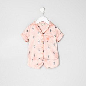 Mini girls pink cactus print shirt pajama set
