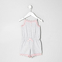Mini girls grey marl lace playsuit