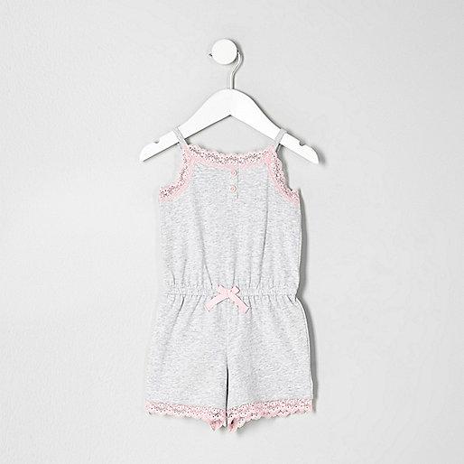 Mini girls grey marl lace playsuit