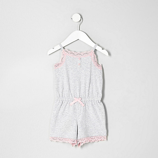 Mini girls grey marl lace romper