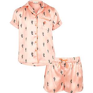 Pinkes Pyjamaset mit Hemd mit Kaktusmotiv und Shorts