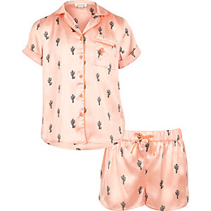 Girls pink cactus shirt and shorts pajama set