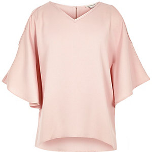 Girls pink cold shoulder kimono sleeve top