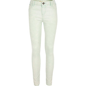 Girls green acid wash skinny Molly jeggings