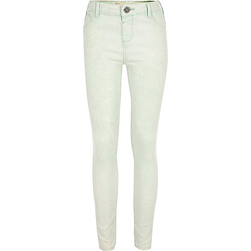 Girls mint green acid wash Molly jeggings