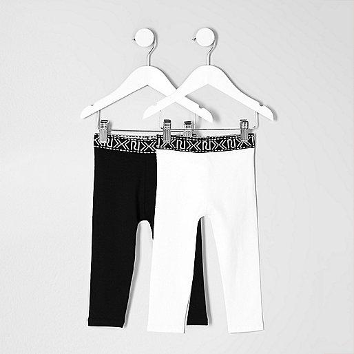 Mini girls black and white leggings pack