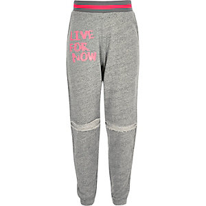 Pantalon de jogging imprimé live for now gris chiné pour fille