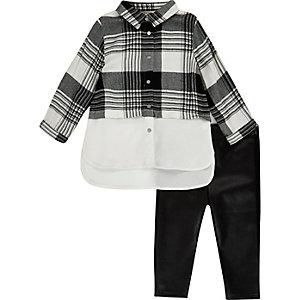 Mini girls mono check shirt leggings set