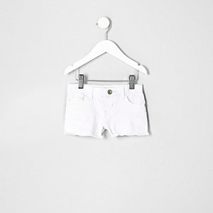 Mini girls white denim shorts