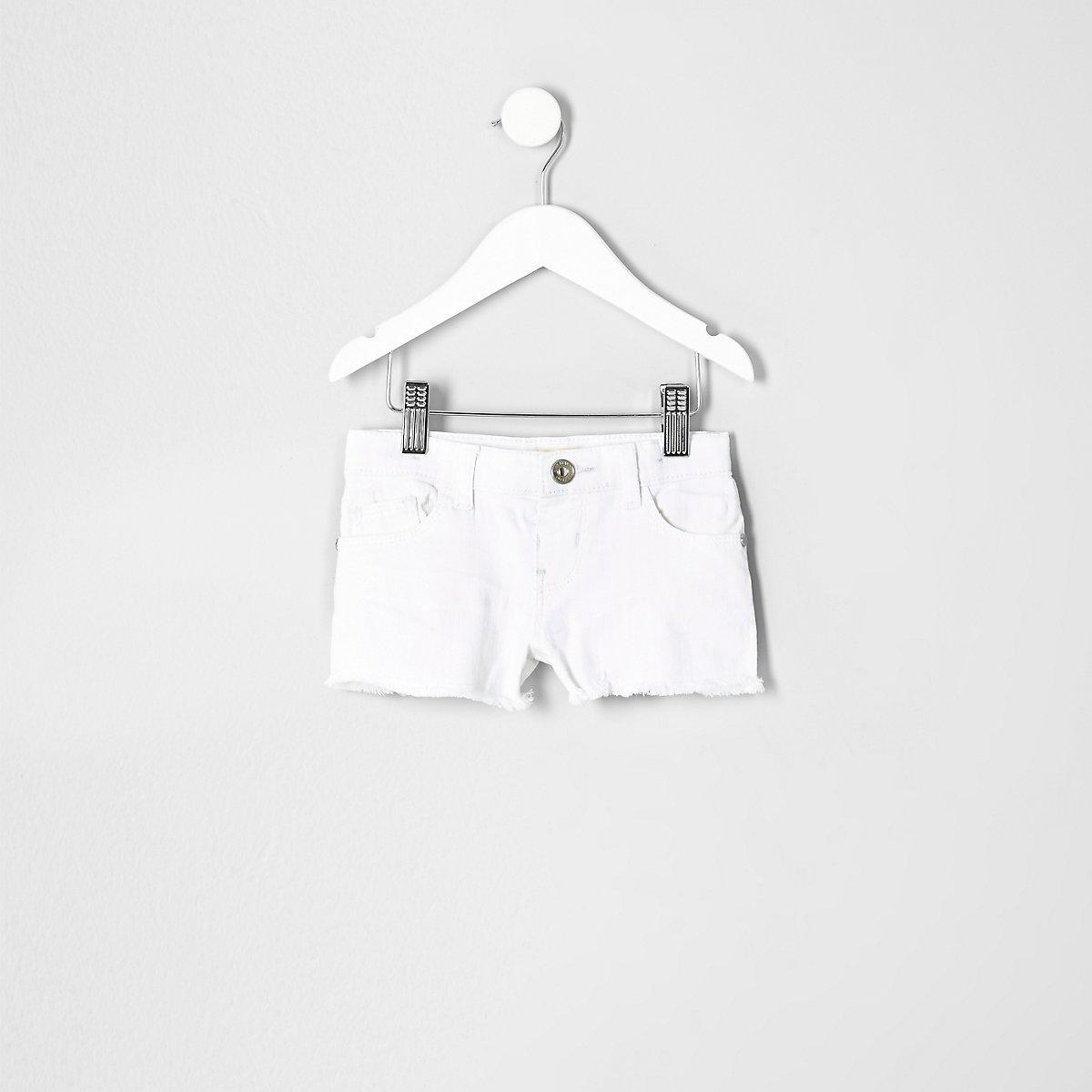 Mini girls white denim shorts