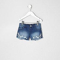 Mini girls blue embroidered denim shorts